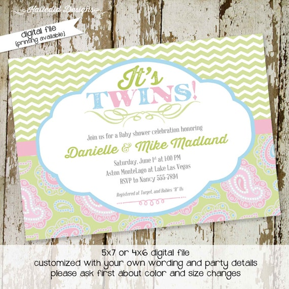 twin baby shower invitation twins gender reveal paisley neutral sip and see baby sprinkle birthday diaper item 1522 shabby chic invitations