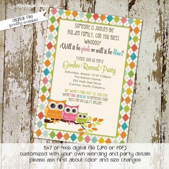 Gender reveal invitation owl baby shower invites couples shower gender neutral argyle baby sprinkle bash (item 1426) shabby chic invitations