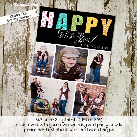 Christmas card, Holiday or New Years greeting card, bold colors with photos, digital, printable file (item 854)