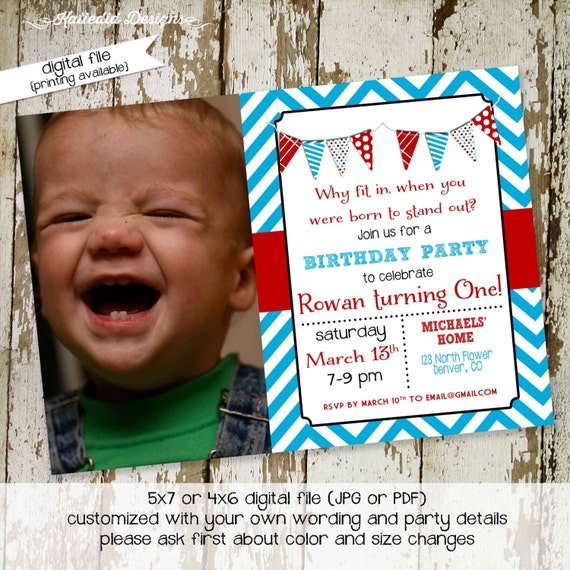 birthday party invitation why fit in when you were born to stand out red blue dr seuss, digital, printable file (item 285)