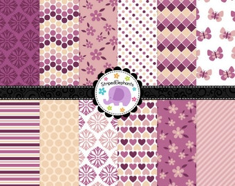 Pretty Plum Digital Paper Pack, Digital Scrapbook Papers, Digital Backgrounds, Instant Download, Commercial Use