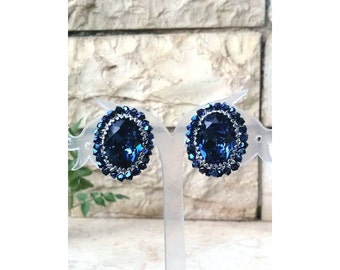 Navy Blue Earrings with Sparkling Swarovski Crystals