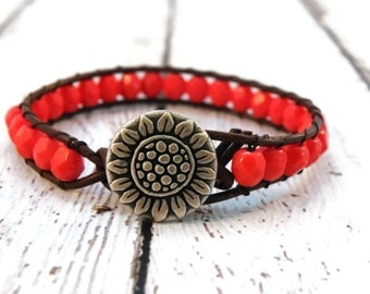 Boho Sunflower Red Rustic Leather Wrap Bracelet Silver Designer Button/ Sunflowers/ Boho Southwestern Chic/