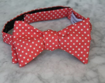 Men's Bow Tie in Coral Pin Dots- Self tying - freestyle - Groomsmen gift and ring bearer outfit