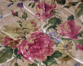 Coverlet/Quilt in Floral Printed Velvet OOAK Custom Made - Twin Size With Decorative Cord Edging