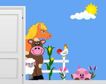 Peeking Farm Animals Wall Decal Mural Scene Cow Horse Sheep Pig Rooster