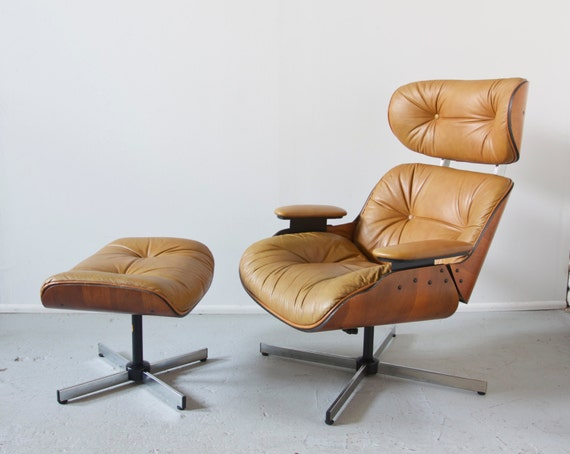 Mid Century Modern Eames Style Lounge Chair and Ottoman By