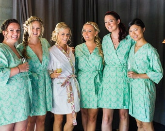 Bridesmaid Robes. Bridal Robe. Kimono. Kimono Robe. Dressing Gown. Wedding Gift. Sonoma Farm House Collection Bahama Waters. Knee Length.
