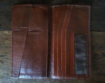 Vintage English Brown Leather Wallet circa 1960's / English Shop