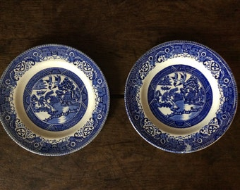 Vintage English blue and white willow lunch dinner side sandwich plates circa 1960's / English Shop