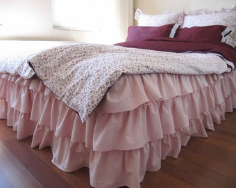 Pale pink lavender Queen or king waterfall 3 tiers ruffle bed skirt, Dust ruffle, shabby chic bedding, layered ruffle bedskirt - Nurdanceyiz