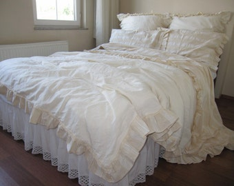 Queen KING duvet cover-Ivory cream neutral woven cotton Linen-French country home-Buldan fabric chic ruffle Turkish bedding Nurdanceyiz