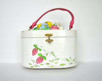 Vintage 60's  Repurposed Box purse with Paper Mache Flower and Strawberries
