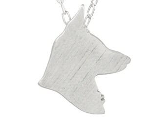 German Shepherd necklace, German Shepherd charm, German Shepherd silhouette - Sterling Silver dog necklace, dog charm pet memorial gift