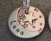 custom dog id tag- pet tag with moon and start- Luna  pet id tag