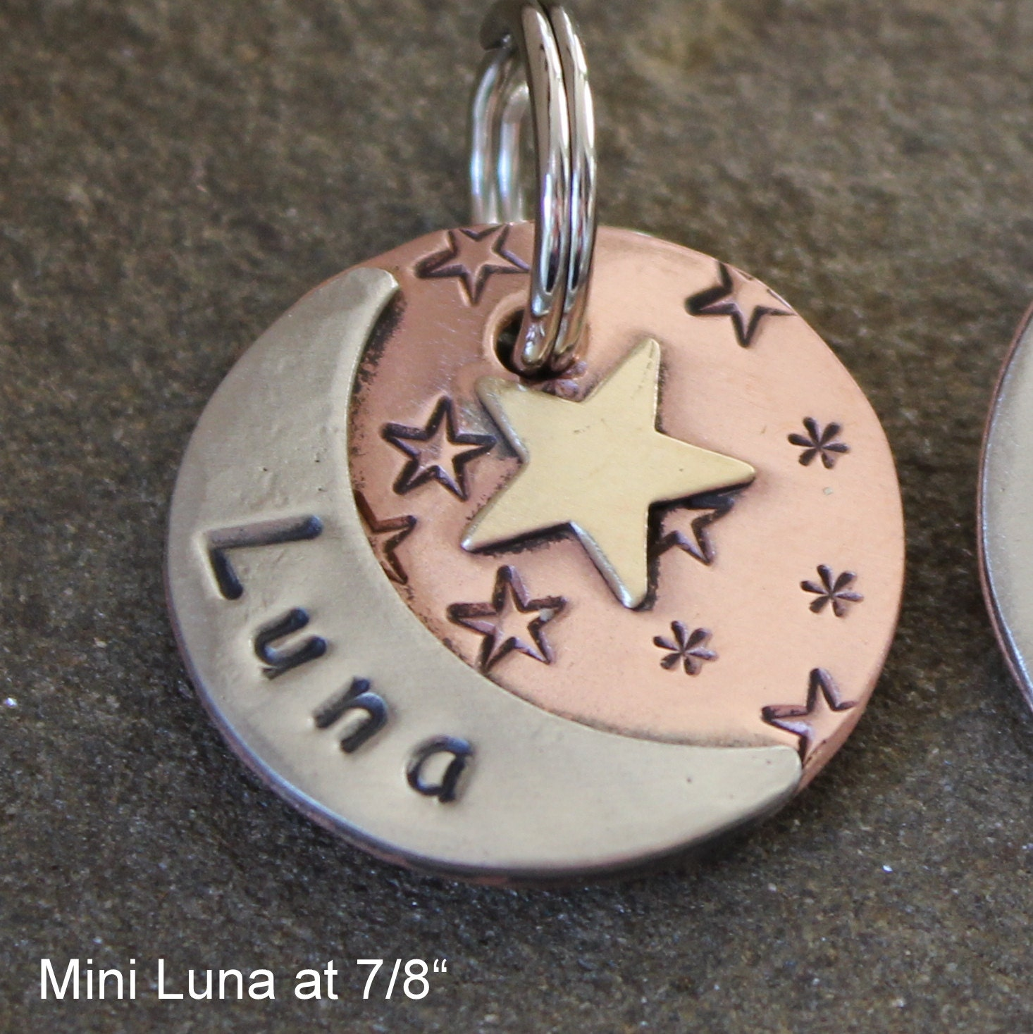 custom dog id tag pet tag with moon and start Luna pet id