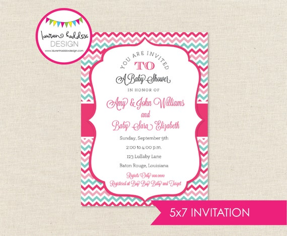DIY, Baby Shower INVITATION, Hot Pink Chevron