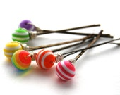 Colorful Striped Bead Bobby Pins, Wire Wrapped, Modern, Hair, Accessory, Fashion, ON SALE 50% OFF