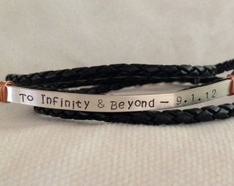 Men's Custom Triple Band Silver Braided Leather Bracelet. Lobster Closure. Secret Message. Copper. Rustic. Hand Stamped. Reclaimed Silver.
