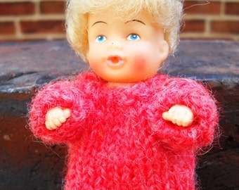 Small Doll with hair, bottle mouth, movable parts and handmade dress