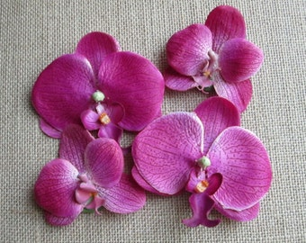Set of 8 floating orchids in Purple