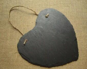 Slate heart chalkboard - Jute hanger - Large