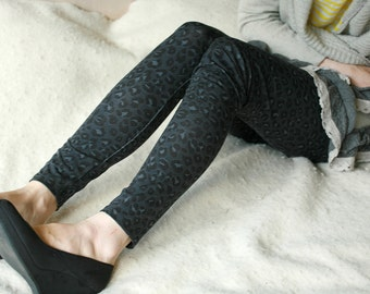CLEARANCE SALE Dark grey leopard/cheetah leggings, opaque and thick, warm leggings