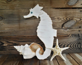 Nautical Wood Seahorse Wall Decor. Beach Cottage by searchnrescue2