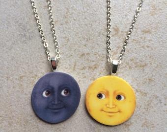 Moon Emoji Friendship Necklaces