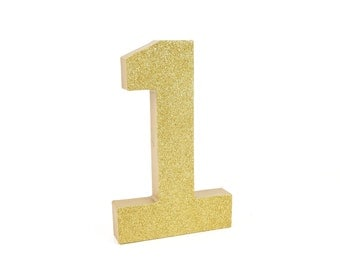Ready to ship! Gold Glitter Number 1 - First Birthday - Party Decor - Princess Party - Golden Birthday - Big Number for Birthday Party
