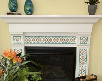 Indian Faux Tile Border Stencils - Wall Border Design - Tile Furniture Pattern