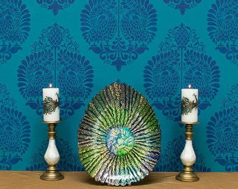 Indian Wall Art Peacock Bird Wall Stencil - Large Pattern Designer Wallpaper - Bohemian Boho Chic Eastern Style Decor