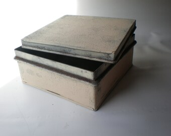 Vintage Heavy Painted Tin Box