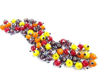 60 Multi Color Bumpy Lampwork glass Beads