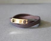 18k Gold Plated Closure Double Wrap Leather Bracelet(Purplish Grey)