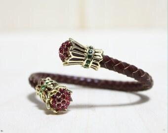 Braided Leather Bracelet with Crystal Tassel Ornament(Dark Brown)