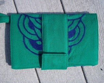 Kelly Green & Blue Clutch Needle Felted Design Eco Friendly