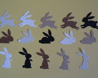 Easter Bunny Die Cuts x 15 Browns for Scrapbooking Cards and Paper Crafts