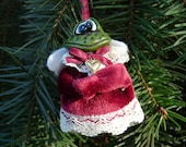 Cutest Crazy Crossed Eyed Frog Angel Heart of Gold Christmas Ornament by RUSS