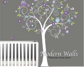 Children Wall Decal Wall Sticker tree decal-Tree with Flowers Owls Birds Decals-e123