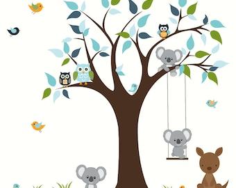 Baby Nursery Tree Wall Decals Kids Room Wall Decor-Tree with Animals Koala Bear Kangaroo-Mural Playroom Wall Art-e55