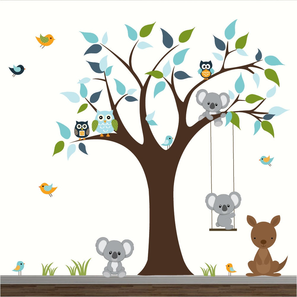 B b cr che mur stickers enfants chambre wall decor arbre avec for Stickers animaux chambre bebe