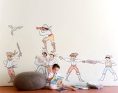 Sarah Jane LARGE Boy Pirates Eco-Friendly Reusable Fabric Wall Decals by Pop & Lolli
