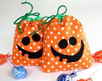 Halloween Treat Bag - Halloween drawstring gift bag - fabric and reusable - eco friendly