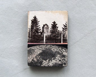 Lunar Monument - surreal kitchen fridge collage magnet, moon, moon phase, space, strange