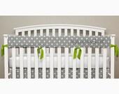 Teething Crib Rail Cover Protector - Gray Polka Dot - Lime Green Ties - Reed -T1