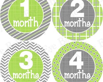 Baby Monthly Stickers FREE Baby Month Sticker Baby Month Milestone Stickers Boy Girl Baby Neutral Bodysuit Stickers Chevron Grey Orange 002N
