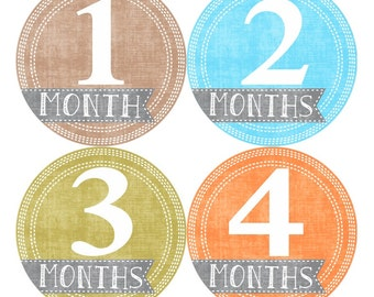 Baby Month Milestone Stickers FREE Baby Month Sticker Baby Monthly Stickers Baby Boy Bodysuit Sticker Baby Photo Props Baby Old Sticker 020B