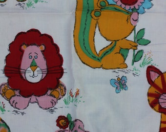 Vintage Cotton Fabric With Child Animal Print, Groovy Lions, Cats and Other Animal Friends, One Yard