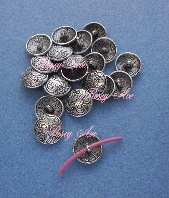 Silver swirl button lot metal shank for sewing jewelry making for Buttons with shanks for jewelry